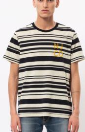Nudie Jeans || ROY tshirt: barcode white black