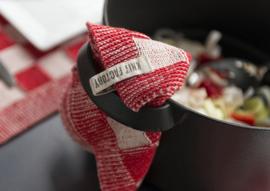 Knit factory || pannenlap: ecru rood