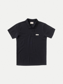 Nudie Jeans || MIKAEL polo logo: black