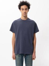 Nudie Jeans || Milton recycl, tee; Blue mel-ALLEEN M BESCHIKBAAR-