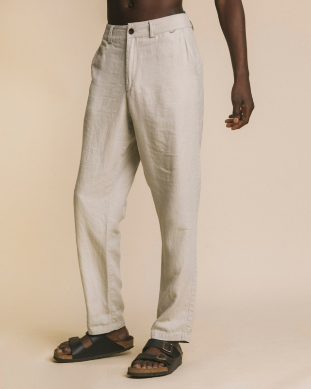 Thinking Mu    MARCELINO hemp pants: stone-ALLEEN L BESCHIKBAAR-