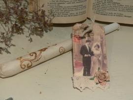 Kaars met trouwlabel - Bruidspaar A (H007)