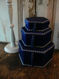 Set 3 (kado)doosjes, 6-hoekig donkerblauw (DK05)