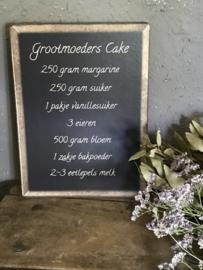 Houten tekstbordje - Grootmoeders Cake