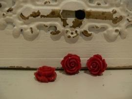 Kraal roos donkerrood 15 mm. (3 stuks)  (KB57)