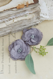 JDL - Stoffen bloemen grijs, set van 2
