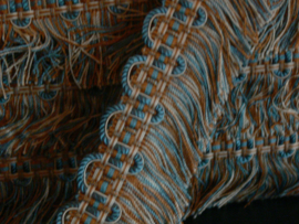 Sierband met franjes - blauw/bruin
