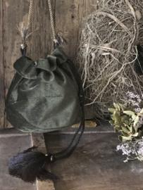 Velvet buideltasje - donkergroen