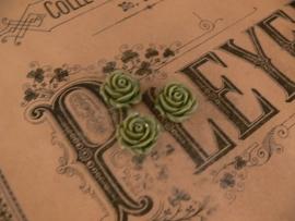 Kraal roos olijf/grijs 15 mm. ( 3 stuks)  (KB78)