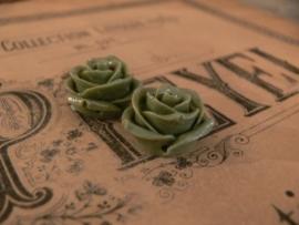 Kraal roos olijfgroen/grijs  22 mm (2 stuks) (KB81)
