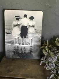 Houten bordje - Drietal in de zee