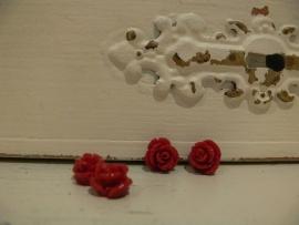 Kraal roos donkerrood 11 mm. ( 4 stuks) (KB56)