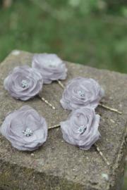 Haarspeld grijze bloem - JDL