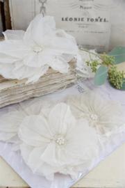 JDL - Stoffen bloemen creme, set van 2