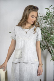 JDL Shirt  Rikke- grey stonewashed,  maat M/L