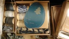 Doosje touw en labels  (blauw label)