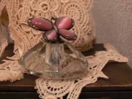 Parfumflesje kristal roze vlinder
