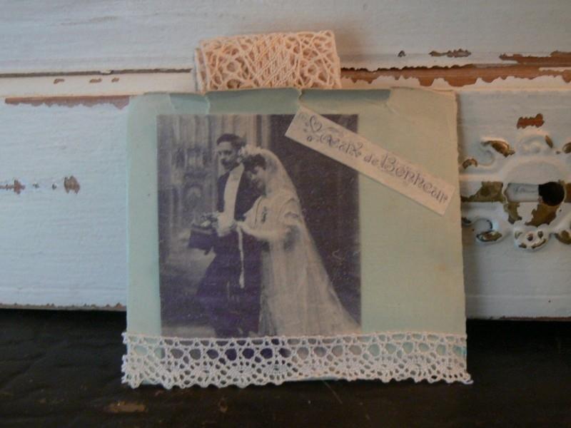 Zakje bruidspaar met kant (SK80)