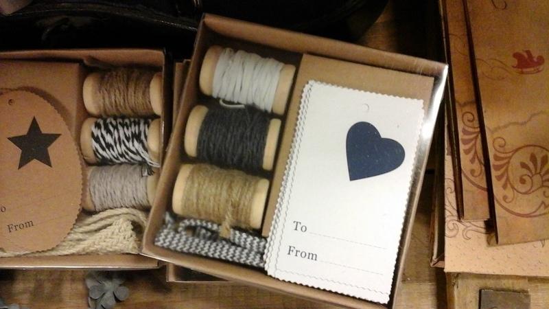 Doosje touw en labels  (blauw hart)