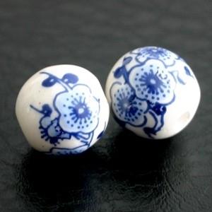 Delftsblauw ronde kraal bloemen 12 mm (1858) (KB70)