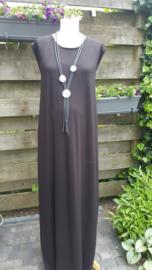 Lange tricot zwarte jurk