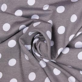 0000D22b tricot grijs wit stip 10 mm.