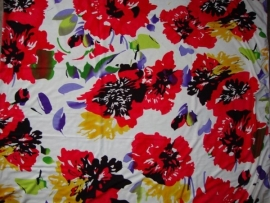 0000A29 tricot wit rood zwart groen geel paars bloem