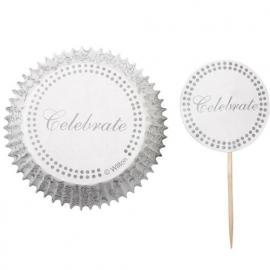 Cupcakevormpjes Celebrate Silver pk/24