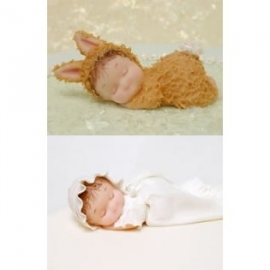 KD Siliconen mould - Sleeping Baby & Pillow