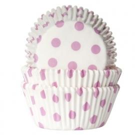 HoM Baking cups Stip Wit/Baby Roze - pk/50