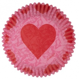 Wilton Baking cups Pink Damask Valentine pk/75