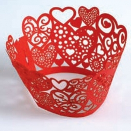 Culpitt 12 Cupcake wraps - Hearts Red -