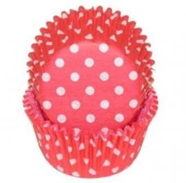 Cupcakevormpjes Red Polka Dots pk/60