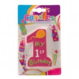 My 1st Birthday Kaars Roze