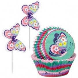 Cupcakevormpjes vlinder pk/48