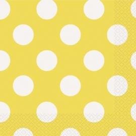 Servetten polka dot geel