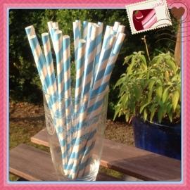 papieren rietjes blauw gestreept