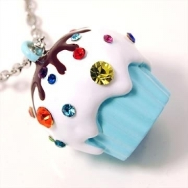 Cupcake ketting (blauw)