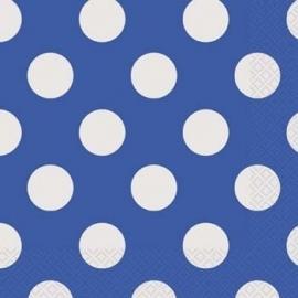 Servetten polka dot blauw