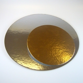 Taartkartons zilver/goud ROND 16cm, 3 st