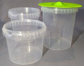 3 x kunststof fermentatiepotten met 1 siliconen deksel