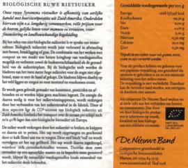Biologische rietsuiker 500 gram (De Nieuwe Band)