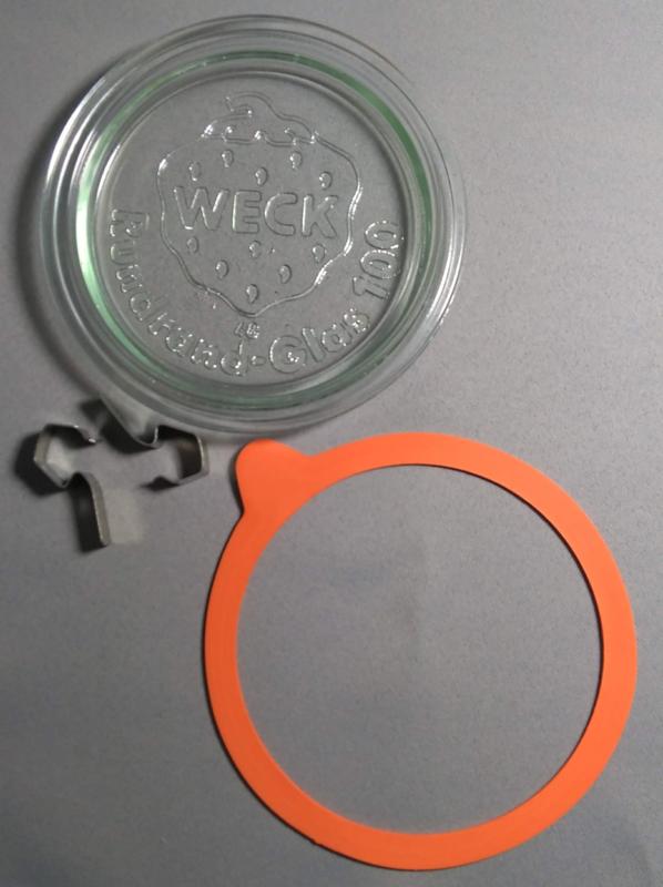 Weck glazen deksel 10 cm, rubber ring + 2 klemmen