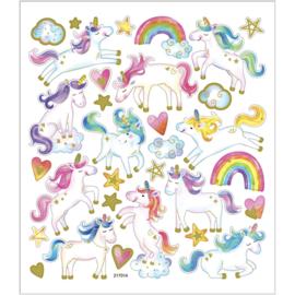 Stickers, vel 15x16,5 cm, circa 31 stuk, , eenhoorn,  1vel-C-Diverse kleuren