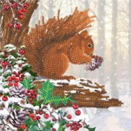Chrystel Card Kit-Diamand Painting Squirrel-Craft Buddy- Multi Color
