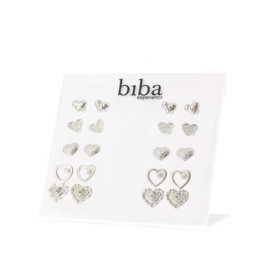 Oorbel hartjes per twee - Biba- silver