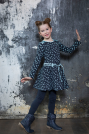 Girls Loffely dress Joanneke- LoFff- Dark blue leaf