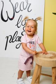 Bampidano-Baby Girls short sleeve dress Dunja plain with waist cord FLOWER -Light Pink