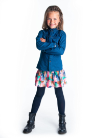 Girls Kids aop woven skirt with smocked wb and layer  -B.Nosy-Leaf cover
