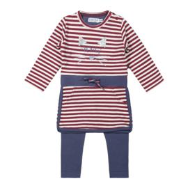 Dirkje-Girls 2 pce babysuit ls dress-Burgundy + navy